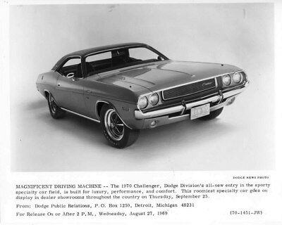 1970 Dodge Challenger ORIGINAL Factory Photo oub6630