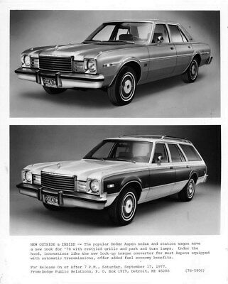 1978 Dodge Aspen Sedan & Station Wagon ORIGINAL Factory Photo oub6639