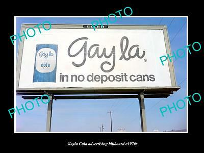 OLD LARGE HISTORIC PHOTO OF GAYLA COLA DRINK ADVERTISING BILLBOARD c1970s