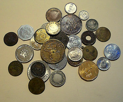 BULK GROUP LOT of 30 pieces mixed tokens and world coins NICE variety group!