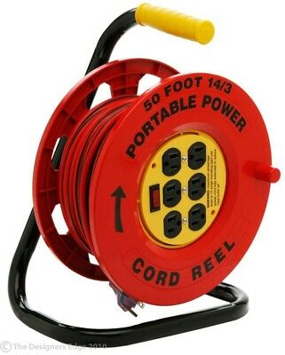 6 Outlet extension Cord Reel Electric Power Lighted On Off Switch Outdoor Indoor