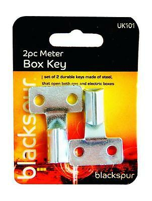 2 x Gas Electric Home Office Utility Meter Box Steel Triangle Key Ring Tool