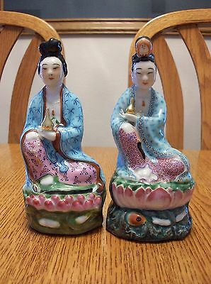 Chinese Porcelain Famille Rose Asian Kwan Yin Buddha God Statue Figurine Figures
