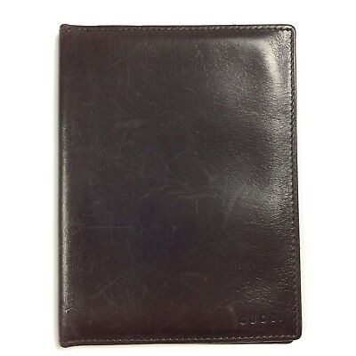 Gucci Passport Holder Cover Case Card Case, Brown Leather, Scratches