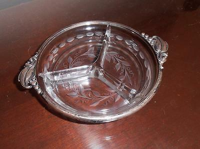 Vintage,  Wonderful  Sterling Silver & Glass Candy Dish......Very Nice...1900's