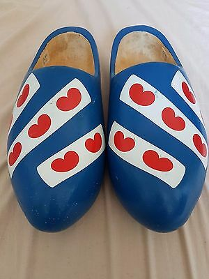 Vintage Dutch Wooden Clogs Fryslan Blue 29cm Made In Holland, Great condition