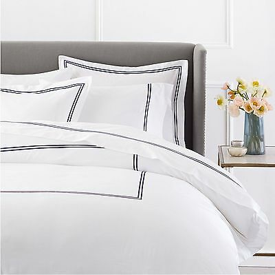 Pinzon 400 Thread Count Egyptian Cotton Sateen Hotel Stitch Duvet Cover Full Nav
