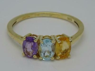 Beautiful 9Ct Gold On Silver Mixed Gemstone Citrine Topaz Amethyst Ring Size Q