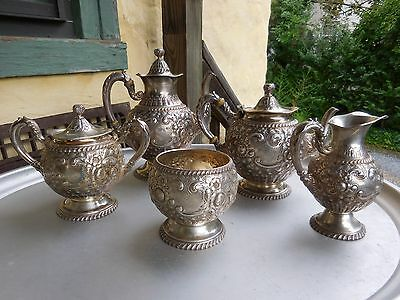 Gorham Sterling Silver Five Piece Tea Coffee Service Repousse 1890