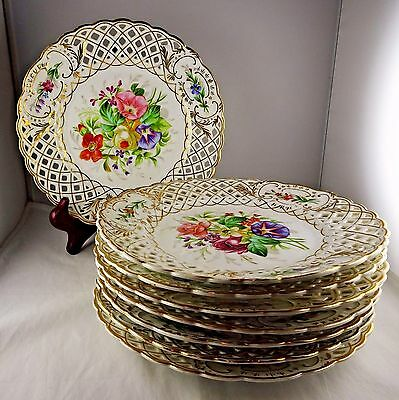 Eight Antique Hand Painted Floral & Gold Reticulated Cabinet Plates Collamore NY