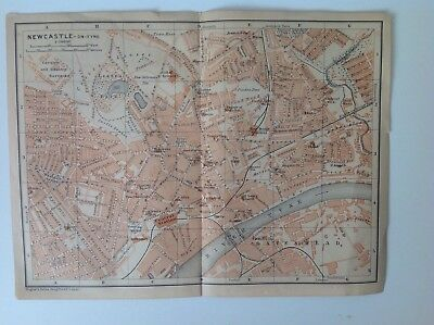 Newcastle, England, Great Britain,1901 Antique Street Map, Wagner & Debes, Atlas