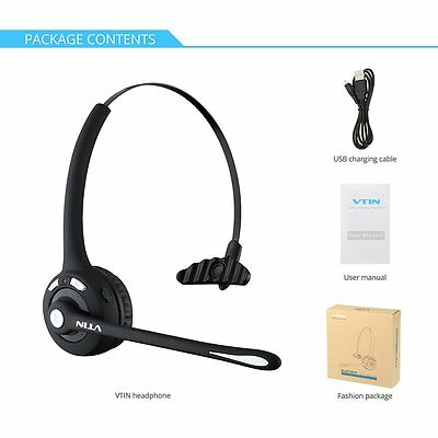 VTIN Over The Head Bluetooth Wireless Headset Stereo Headphone for Driver Truck