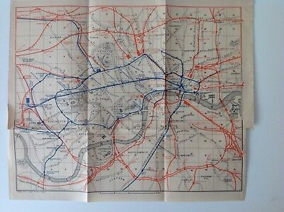 Railway Map Of London, Great Britain, 1901 Antique Map, Wagner & Debes, Atlas
