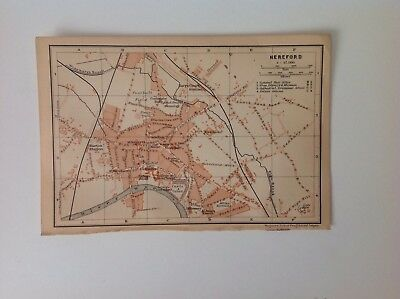 Hereford, Great Britain, 1901 Antique Map, Wagner & Debes, Atlas