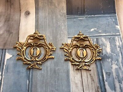 Vintage French Brass Escutcheon Key hole cover, rococo furniture embellishment