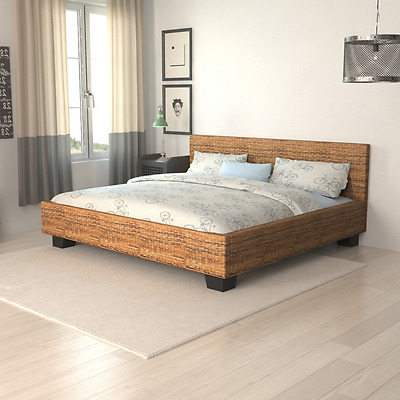 Rattan Bed Frame Handmade Woven Structure Headboard Unique Furniture King Size