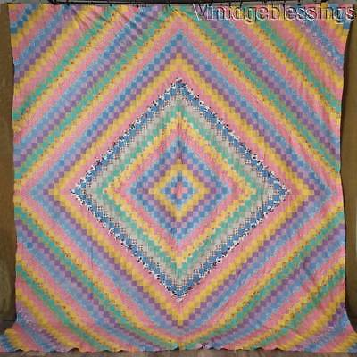 "Fantastic! Extra Large VINTAGE 30s QUILT TOP 101x91"" Trip Around the World"