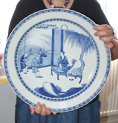 """A Superb 15.3"""" Rare Chinese Underglazed Blue People Charger (Scallop + Net)"""