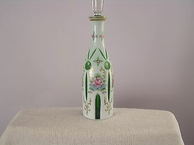 Antique Cameo Decanter, cut white to emerald, full solid stopper