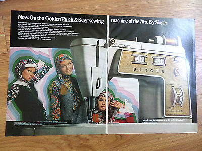 1970 Singer Sewing Machine Ad Golden Touch & Sew
