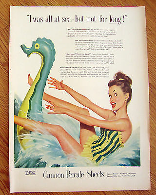 1948 Cannon Percale Sheets Ad   Swimming Theme