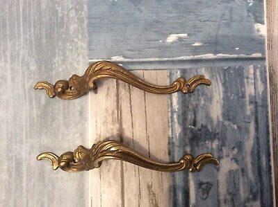 2 x Vintage French Brass Drawer Handles pulls Rococo furniture embellishments