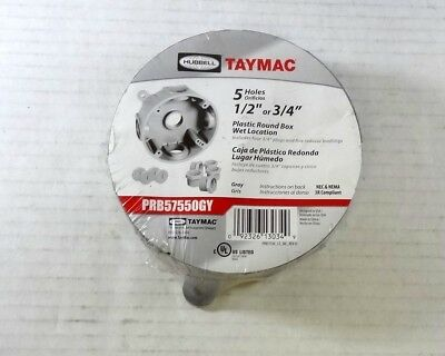 """Round Gray by TAYMAC Metal 5 hole Outlet Box 1/2""""or3/4""""-5 holes Gray(PRB57550GY)"""