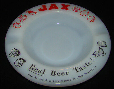 Old Jax Beer Ashtray Made In Usa White Milkglass Ashtray Beer Advertising