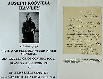 Civil War General Governor Senator Abolitionist Ct Centennial Letter Signed 1883