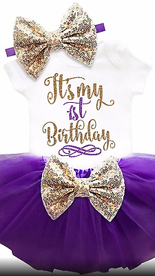 BABY GIRLS FIRST 1st BIRTHDAY TUTU ROMPER DRESS CAKE SMASH OUTFIT PARTY 🇨🇮