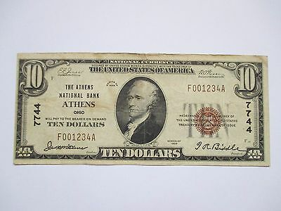 1929 $10.00 National Currency Note - The Athens National Bank - Athens Oh