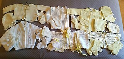 Huge Lot Vtg Yellow White Cream Baby & Toddler Clothing Sweaters Bonnets Booties