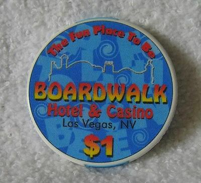 obsolete closed BOARDWALK CASINO Las Vegas last $1 chip ~UNCIRCULATED~