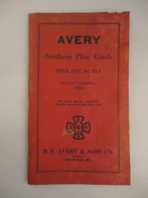 Vtg 1940 B.F. Avery Southern Plow Goods Tractor Implements Machinery Catalog KY