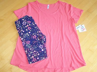 LULAROE 2 Piece Coral 3XL Classic T & TC Tall Curvy Leggings Outfit Set NEW NWT