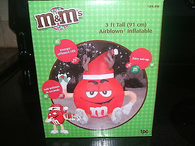 M&M's Christmas Inflatable RED Light up Self inflates indoor/outdoor LED MIB