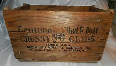 Vintage Wood Shipping Crate Advertising Genuine Crosby Red U-Bolt clips