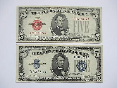 Lot Of 2  $5.00 Notes - 1928-F And 1934-D - Xf-Au