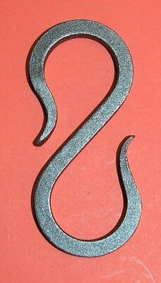 """Wrought Iron 3 1/4 in.,1/4"""" square S-Hook Hanger, Hand Forged by Blacksmiths"""