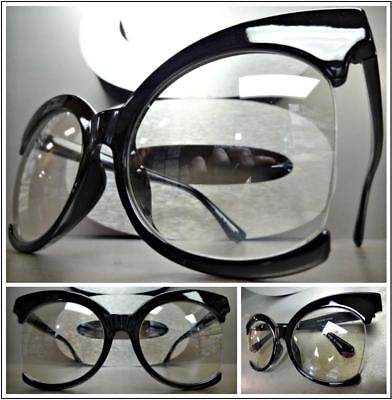 OVERSIZED EXAGGERATED VINTAGE RETRO Style Clear Lens EYE GLASSES XL Black Frame