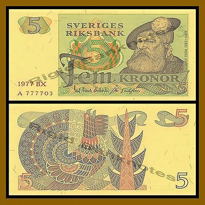 Sweden 5 Kronor, 1977 P-51c Red Serial number Unc