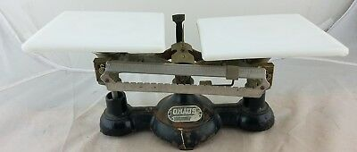 Vintage OHAUS Trip Balance Scale cast iron and milk glass beautiful!!