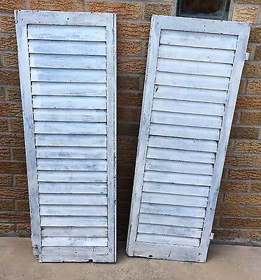 Wood Window Shutters Pair Shabby White Paint Antique VTG Architectural Salvage