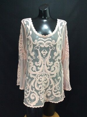 Women's EXPRESS Pink Baroke Embroidered Lace Long Sleeve Shirt Top Tunic Size L