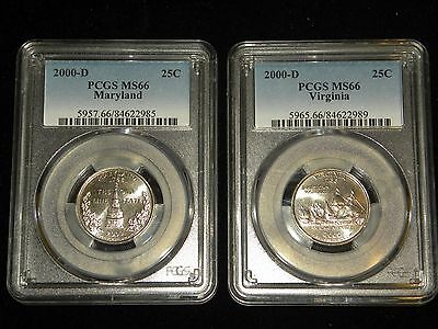 2000-D Maryland/Virginia State Quarters (MS 66) PCGS (Two Coins)