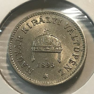 1895 Hungary 10 Filler Almost Uncirculated Coin
