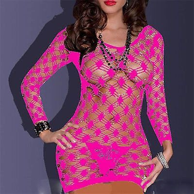 Sexy Erotic Hot Pink Lingerie Fishnet Stretch Mini Dress BodyStocking One Sz