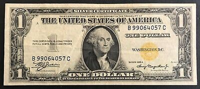 1935A US $1 Silver Certificate - North Africa Yellow Seal - Dollar Note XF -1506