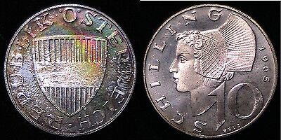 1965 Austrian,  Silver Proof 10 Schilling, Rainbow Toned Color Toning 900001