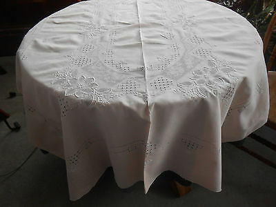 Fantastic Pastel Peach Colored Tablecloth/fabulous Hand Embroidery.  Circa 1930